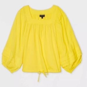 Who What Wear yellow Square Neck Blouse